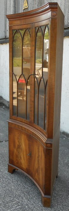 Mahogany Concave Fronted Standing Double Corner Display